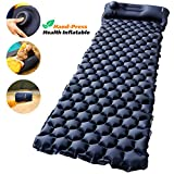 Camping Sleeping Pad with Built-in Pump - AirExpect Upgraded Inflatable Camping Mat with Pillow for Backpacking, Traveling, Hiking, Durable Waterproof Air Mattress Compact Ultralight Hiking Pad