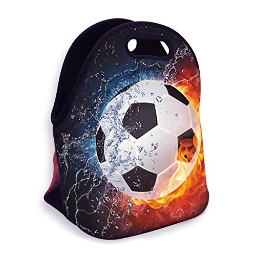 VIPbuy Water-resistant Neoprene Thermal Insulated Lunch Box Bag Tote Zippered for Men Kids Boys School Work Outdoor, Soccer Ball Design