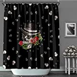 MACOFE Shower Curtain 3D Shower Curtain Halloween Christmas Decorations Polyester Fabric, Waterproof,Hooks Included, Original Design Hand Drawing,71x71in