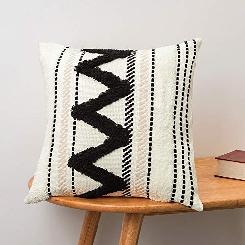 boho shag pillow black and white tribal