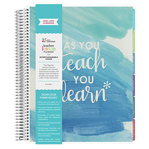 Erin Condren Teacher Lesson Planner July 2018 - June 2019 (12 Month Planner) (Teach and Learn)