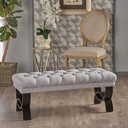 Christopher Knight Home Scarlett Fabric Ottoman Bench, Light Grey