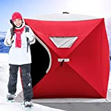 Happybuy Ice Shelter 2/3/4/8 Person Pop-up Portable Ice Fishing Shelter Top Insulated Ice Shelter Tent for Fishing Outdoor(Black) (Red for 2 Person)