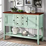 P PURLOVE Console Table Sofa Table Buffet Table Sideboard with Four Storage Drawers Two Cabinets and Bottom Shelf (Retro Blue)