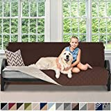 Sofa Shield Original Patent Pending Reversible Futon Slipcover, Dogs, 2' Strap/Hook, Seat Width Up to 70' Washable Furniture Protector, Futons Slip Cover Throw for Pets Kids (Futon: Chocolate/Beige)