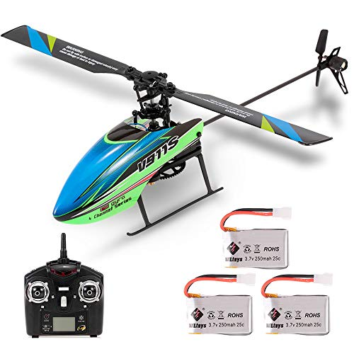 Goolsky WLtoys V911S RC Helicopter 4CH 6G Non-aileron with Gyroscope for Training Kids Toys w/ 3 Batteries