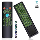[7-Color LED] Gyro Air Remote Mouse Mini Keyboard Remote Control Touchpad,RC T6+ 2.4GHz Wireless USB Remote Backlit for Mac Mini,Kodi,Windows 10,Linux,Android TV Box,PC,Laptop,HTPC,Raspberry Pi 3 B