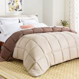 Linenspa All-Season Reversible Down Alternative Quilted Comforter - Hypoallergenic - Plush Microfiber Fill - Machine Washable - Duvet Insert or Stand-Alone Comforter - Sand/Mocha - Twin XL