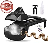 Automatic Hair Steam Curler Ceramic Curling Iron Bar Salon Professional Car Rotating Styling Steamer Spray Curl Spiral Machine Tool with LED Digital Display (Black)