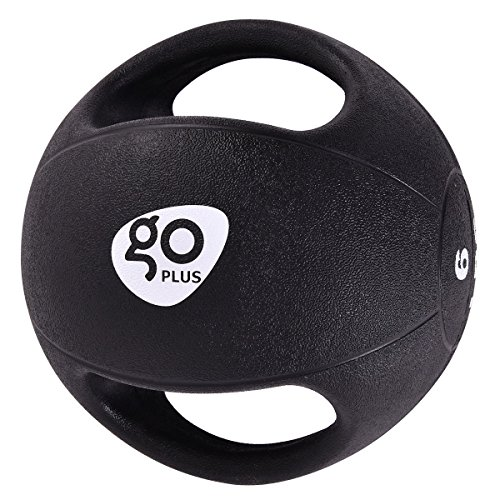 Goplus Dual Grip Medicine Ball for Fitness Weighted Balance Plyometric Training Muscle Build Workout with Handle, 6LBS