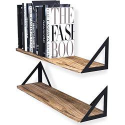Wallniture Minori Floating Shelves Set of 2, Small Bookshelf Unit for Bedroom, Office, and Living Room, Natural Burned…