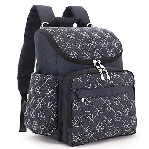 Diaper Bag Backpack with Baby Stroller Straps by HYBLOM, Stylish Travel Designer and Organizer for Women & Men, 12 Pockets, Black