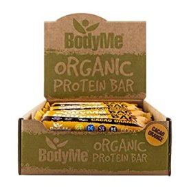 BodyMe Organic Vegan Protein Bar | Raw Cacao Orange | Box of 12 x 60g | With 3 Plant Proteins