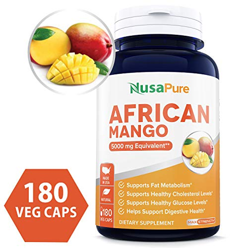 African Mango Cleanse 5000MG per Veggie Caps 180 Capsules (Non-GMO & Gluten Free) Extra Strong Pure Fat Burner, Fast Weight Loss Diet Pills, Detox Drops Slim Prime