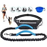 cyrico Hands Free Dog Leash for Running Training Walking,Adjustable Waist Belt,Extendable Bungee Dog Running Waist Leash with A Free Dog Bowl,Dual Handles