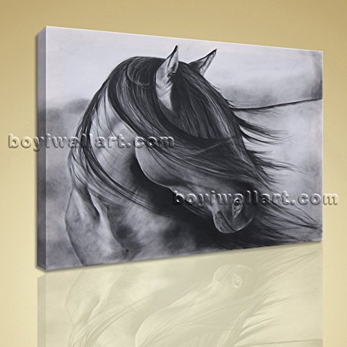 Contemporary Abstract Wall Art Black And White Horse Painting HD ...