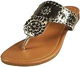Pierre Dumas Women's Rosetta-1 Slip-on Sandals (8, Gold)