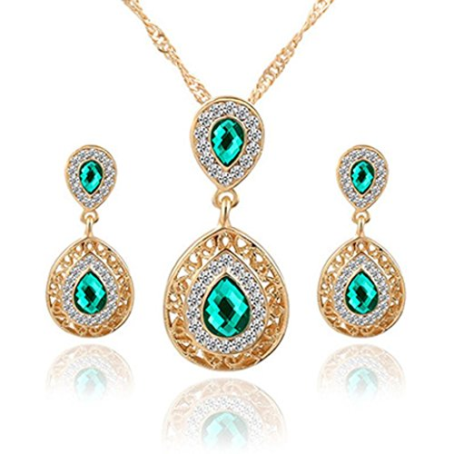 Clearance!Women Party Necklace,Todaies 5 Colors Party Wedding Rhinestones Glass Necklace Earrings Ring Jewellery Set