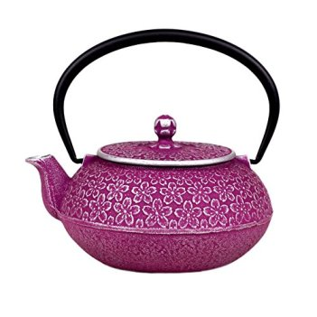Japanese Cast Iron Teapot 20 oz Nambu-tekki Sakura Cherry Blossoms - Purple & Silver [Japanese Crafts Sakura]