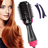 One Step Hair Dryer & Volumizer, AmyHomie Hot Air Brush 3-IN-1 Negative Ions Hair Dryer, Curler and Straightener for All Hair Types (Fuscia)