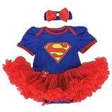 Starkma Supergirl Newborn Infant Baby Girl Set Clothe Cake Dress S01 (S(0-3month)),White,S(0-3month)
