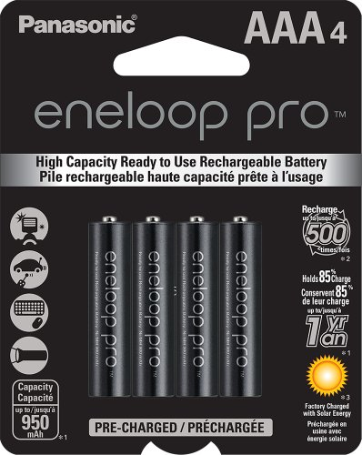 Panasonic BK-4HCCA4BA eneloop pro AAA High Capacity Ni-MH Pre-Charged Rechargeable Batteries, 4 Pack