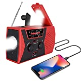 [2019 Upgraded Version] Portable Radio, Weather Radio with LED Flashlight, SOS Alarm Solar Hand Crank Emergency Radio, 2000mAh Power Bank for Smart Phone, AM/FM NOAA Radio, 6 LEDs Reading Lamp