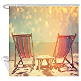 JAWO Summer Vacation Shower Curtain for Bathroom,Chairs on The Beach Near The Ocean Against Sunset Background Bathroom Accessories Fabric Bathroom Curtain with Shower Curtain Hooks
