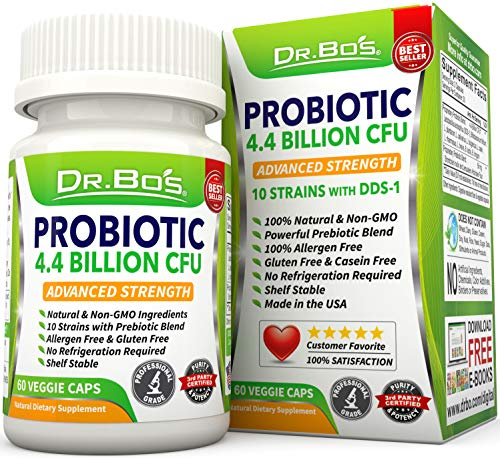 Dr. Bo's Vegan Probiotics for Women Men - Lactobacillus Acidophilus and Rhamnosus Probiotic Capsules with Prebiotics and Bifidobacterium Longum - Non Refrigerated Daily Digestive Gut Health Supplement
