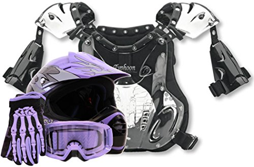 Youth Kids Peewee Offroad Gear Combo Helmet Gloves Goggles Chest Protector Motocross ATV Dirt Bike Purple - XL