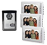 AMOCAM 7inch LCD Monitor Wired Video Intercom Doorbell System, 1 Camera 3 monitor Video Door Phone Bell Kits, Support Monitoring, Unlock, Dual-way Door Intercom, IR Night Vision