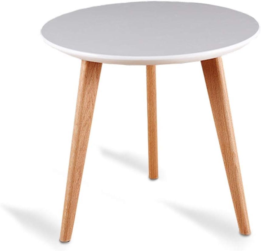Amazon Com Wooden Coffee Table Small Minimalist Living Room Coffee Table White Small Table White Round Tea Table Color White Size 60x60x51cm Furniture Decor