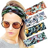 4 Pack Women Headband Boho Floal Style Criss Cross Head Wrap Hair Band set6