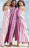 VICTORIA SECRET LIMITED EDITION HUGE FRINGE BLANKET BEACH TOWEL PINK WHITE AND BLACK STRIPED VS SOLD OUT