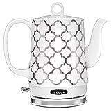 BELLA (14522) 1.2 Liter Electric Ceramic Tea Kettle with Detachable Base & Boil Dry Protection, Silver Tile