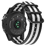 Fintie Band for Garmin Fenix 5X Plus/Tactix Charlie Watch, 26mm Premium Woven Nylon Bands Adjustable Replacement Strap for Fenix 5X/5X Plus/3/3 HR/Garmin Tactix Charlie Smartwatch - Black/White