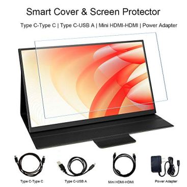 HONGO-All-Metal-Frame-Portable-Monitor-15-Inch-Ultra-Slim-FHD-1080P-Computer-Gaming-Dual-Monitor-USBC-Display-for-Laptop-PC-Phone-Xbox-PS4-Switch-Smart-Cover-Stand-Screen-Protector-Included