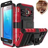 Aoways for Galaxy J2 Core Case, Galaxy J2 2019 Case, Galaxy J2 Dash Case, Galaxy J2 Pure Case, Tempered Glass Screen Protector, Heavy Duty Kickstand Protective Case for Samsung Galaxy J2 Core - Red