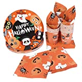 Halloween Disposable Dinnerware Set -Serves 24 - Hemoton Paper Tableware Halloween Party Supplies including 24 Paper Plates, 48 Napkins and 24 Cups