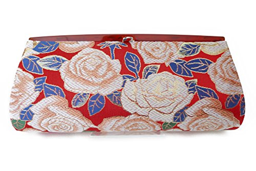 Rose Pattern- Clutch Bag, Nishijin KINRAN Nishijin KINRAN Red×Real Gold Yarn