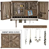 Rustic Wall Mounted Jewelry Organizer with Wooden Barndoor Decor. Jewelry holder for Necklaces, Earings, Bracelets, Ring Holder, and Accessories. Includes matching hook organizer for hanging jewelry.