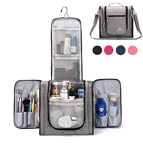 Large Hanging Travel Toiletry Bag for Men and Women Waterproof Makeup Organizer Bags wash bag Shaving Kit Cosmetic Bag for Accessories, Shampoo,Bathroom Shower, Personal Items Grey/Black