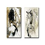 2Pcs/set Modern Canvas art Animal Elegant Brown White Horse Oil Painting Print On Canvas Poster Picture Wall Art Picture for Living Room Decoration Modern Wall Painting