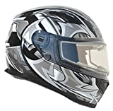 Vega Helmets Ultra Electric Snow Unisex-Adult Full Face Snowmobile Helmet with Heated Shield (Black Shuriken Graphic, Medium)
