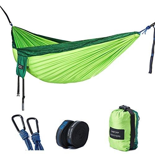 Double Camping Hammock - Lightweight Nylon Portable Hammock with Tree Straps, Parachute Double Hammock For Backpacking/Camping/Travel/Beach/Yard. 118'(L) x 78'(W) (Dark Green/Green)