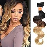 Black Friday Sales Brazilian Ombre Bundles 1b/4/27 Body Wave Bundles with Closure one Bundle 8A Grade Unprocessed Human Hair Weave 10inch