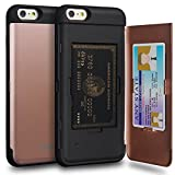 TORU iPhone 6 Plus Wallet Case Pink with Hidden Credit Card Slot ID Holder Hard Cover & Mirror for iPhone 6S Plus/iPhone 6 Plus - Rose Gold