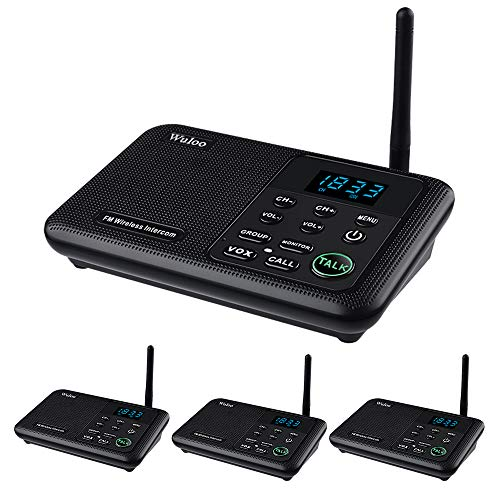 Wuloo-Intercoms-Wireless-for-Home-1-Mile-Range-22-Channel-100-Digital-Code-Display-Screen-Wireless-Intercom-System-for-Home-House-Business-Office-Room-to-Room-Intercom-Communication4Stations-Black