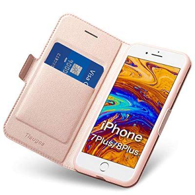 Cover iPhone 8/ 7 Plus Custodia iPhone 8 Plus Custodia Portafoglio in pelle Custodia Folio per Telefono Completa Protezione PU + TPU Custodia Morbida Antiurto e Cavalletto Con Supporto (Oro Rosa)