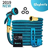 Waybesty Flexible and Expandable Garden Hose-2019 New Model Expandable Hose with Double Latex Core-3/4 Solid Brass Connector-Heavy Duty Leakproof Water Hose with 9 Function Spray Nozzle (Blue, 50)